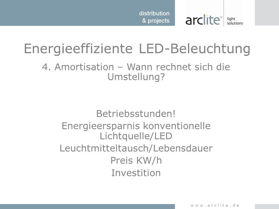 distribution & projects www.arclite.de Energieeffiziente LED-Beleuchtung 4. Amortisation – Wann rechnet sich die Umstellung? Betriebsstunden! Energiee
