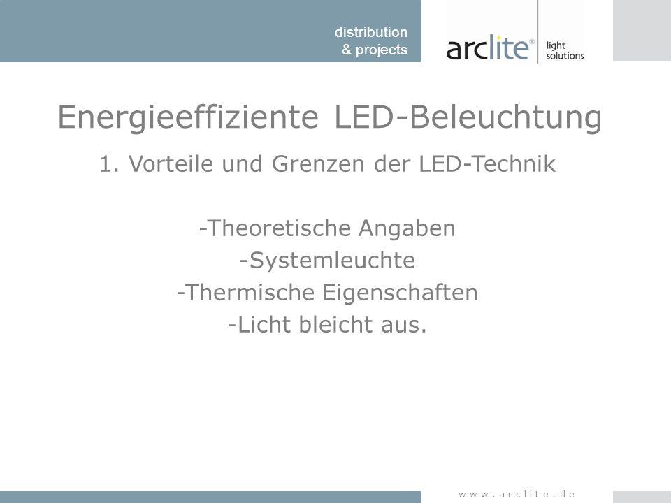 distribution & projects www.arclite.de Energieeffiziente LED-Beleuchtung 1. Vorteile und Grenzen der LED-Technik -Theoretische Angaben -Systemleuchte