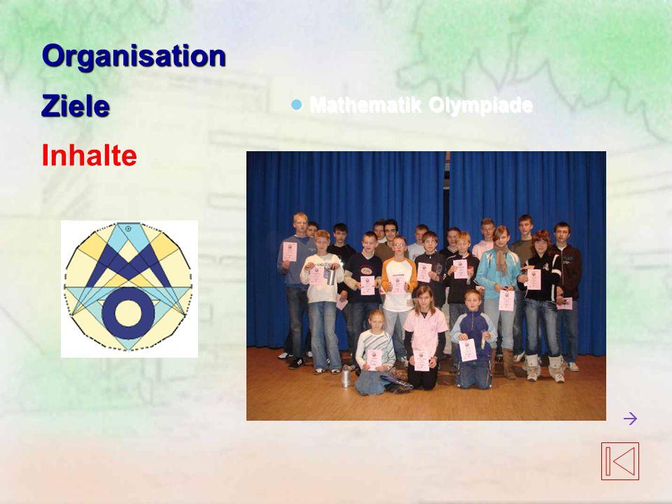 OrganisationZieleInhalte Mathematik Olympiade Mathematik Olympiade 
