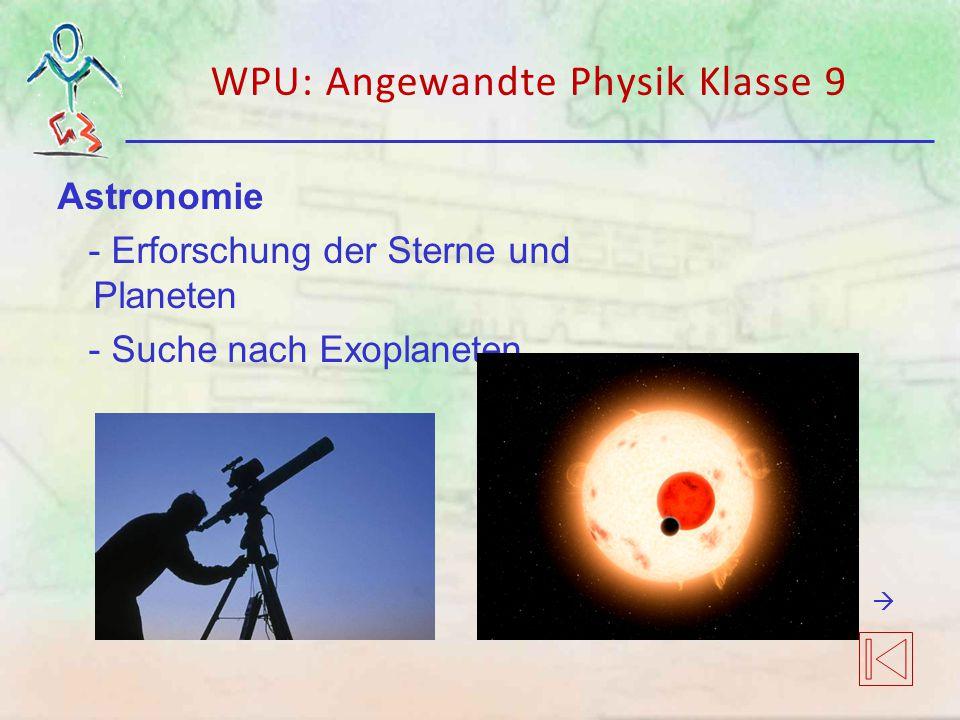 WPU: Angewandte Physik Klasse 9 Astronomie - Erforschung der Sterne und Planeten - Suche nach Exoplaneten 