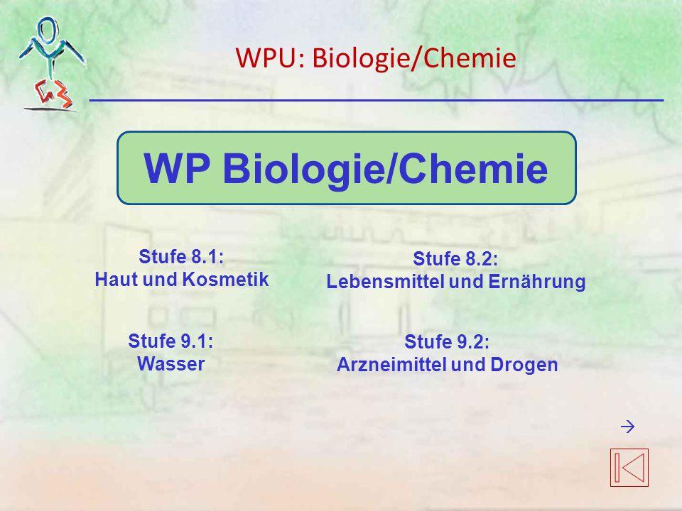 WP Biologie/Chemie Stufe 8.1: Haut und Kosmetik Stufe 9.1: Wasser Stufe 9.2: Arzneimittel und Drogen Stufe 8.2: Lebensmittel und Ernährung WPU: Biologie/Chemie 