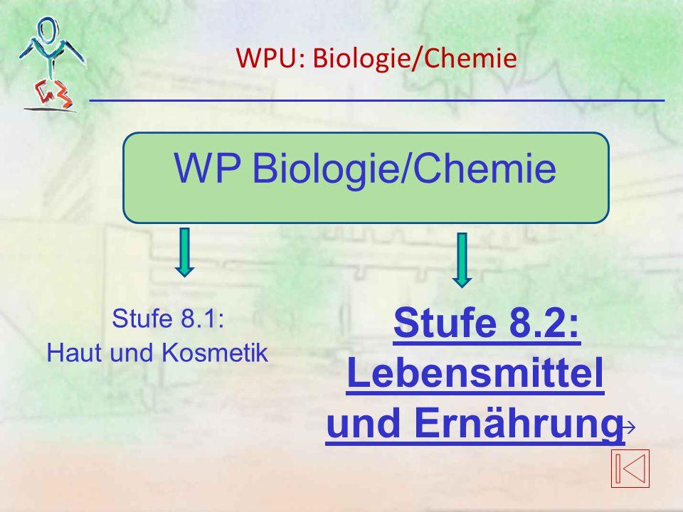 WP Biologie/Chemie Stufe 8.1: Haut und Kosmetik Stufe 8.2: Lebensmittel und Ernährung WPU: Biologie/Chemie 