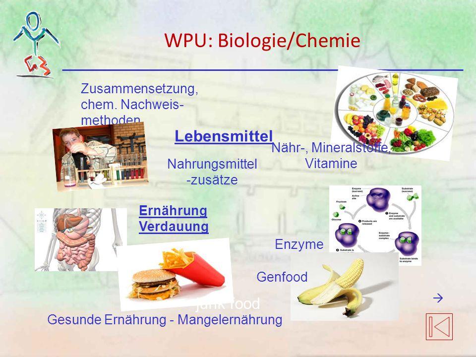 Zusammensetzung, chem. Nachweis- methoden Lebensmittel Ernährung Verdauung Nähr-, Mineralstoffe, Vitamine Enzyme junk food Genfood Nahrungsmittel -zus