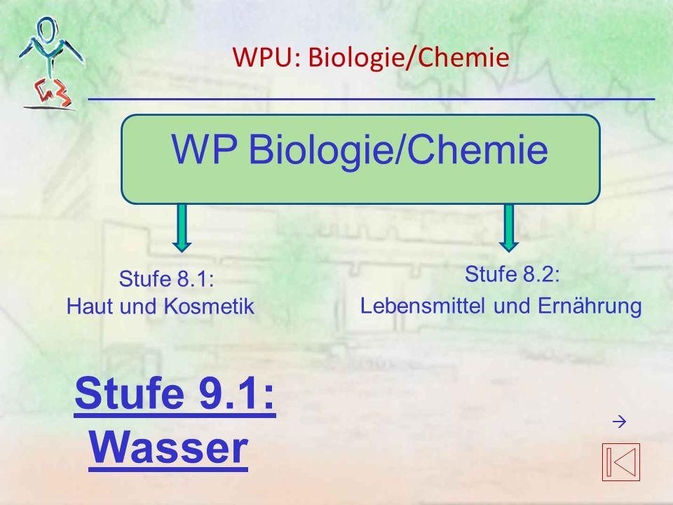 WP Biologie/Chemie Stufe 8.1: Haut und Kosmetik Stufe 8.2: Lebensmittel und Ernährung Stufe 9.1: Wasser WPU: Biologie/Chemie 