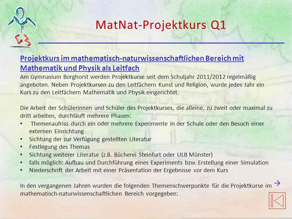 Projektkurs im mathematisch-naturwissenschaftlichen Bereich mit Mathematik und Physik als Leitfach Am Gymnasium Borghorst werden Projektkurse seit dem