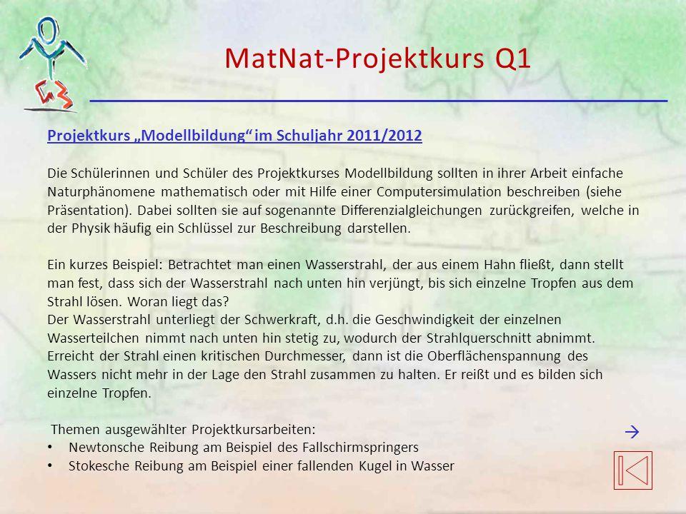 """MatNat-Projektkurs Q1 Projektkurs """"Modellbildung"""" im Schuljahr 2011/2012 Die Schülerinnen und Schüler des Projektkurses Modellbildung sollten in ihrer"""