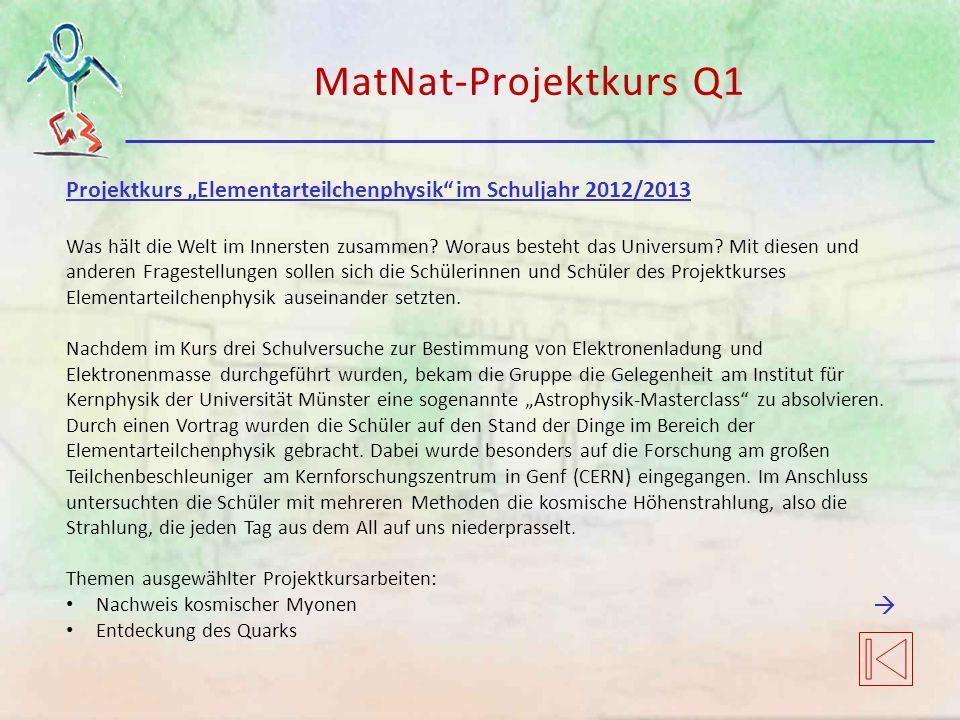 """MatNat-Projektkurs Q1 Projektkurs """"Elementarteilchenphysik"""" im Schuljahr 2012/2013 Was hält die Welt im Innersten zusammen? Woraus besteht das Univers"""