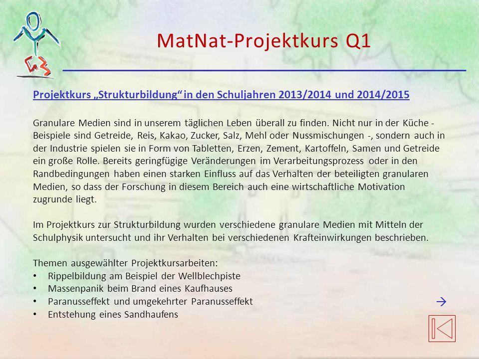 """MatNat-Projektkurs Q1 Projektkurs """"Strukturbildung in den Schuljahren 2013/2014 und 2014/2015 Granulare Medien sind in unserem täglichen Leben überall zu finden."""