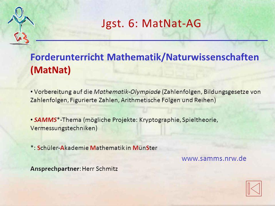 Jgst. 6: MatNat-AG Forderunterricht Mathematik/Naturwissenschaften (MatNat) Vorbereitung auf die Mathematik-Olympiade (Zahlenfolgen, Bildungsgesetze v