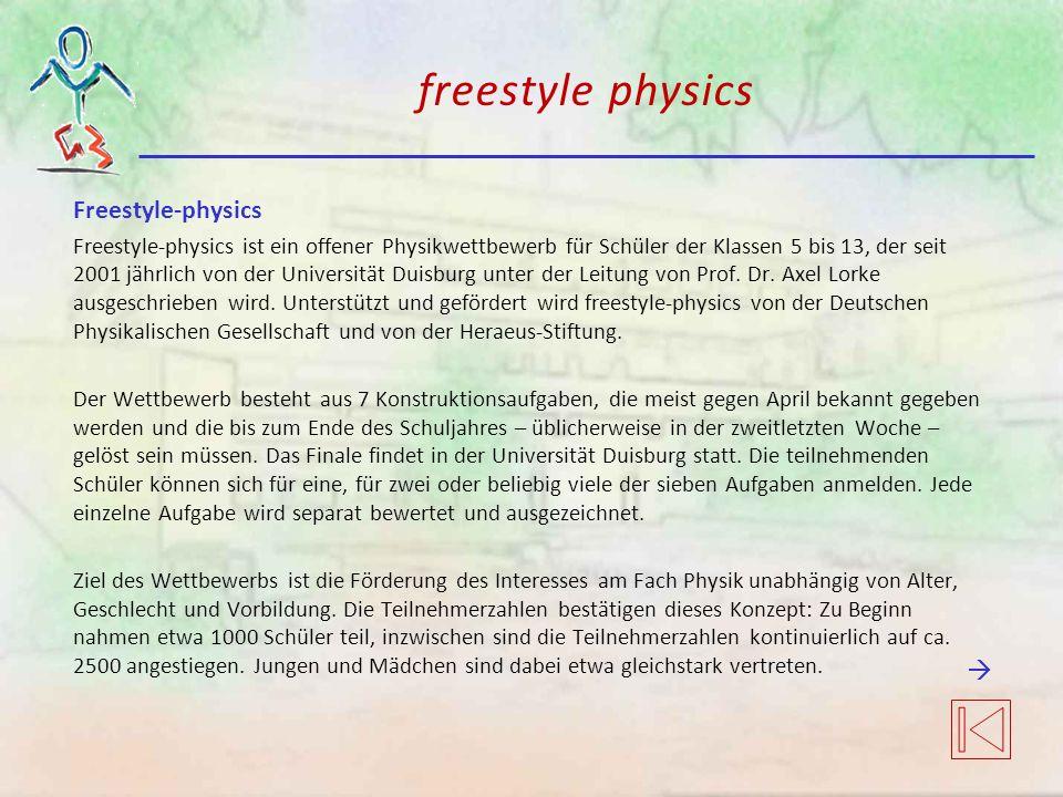 freestyle physics Freestyle-physics Freestyle-physics ist ein offener Physikwettbewerb für Schüler der Klassen 5 bis 13, der seit 2001 jährlich von der Universität Duisburg unter der Leitung von Prof.