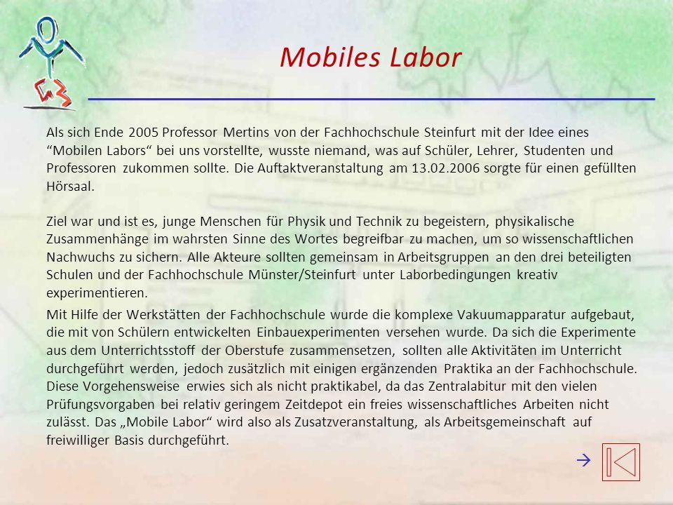Mobiles Labor Als sich Ende 2005 Professor Mertins von der Fachhochschule Steinfurt mit der Idee eines Mobilen Labors bei uns vorstellte, wusste niemand, was auf Schüler, Lehrer, Studenten und Professoren zukommen sollte.
