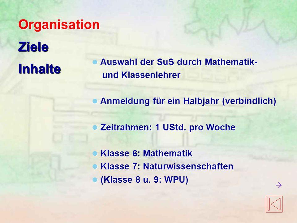 Auswahl der SuS durch Mathematik- Auswahl der SuS durch Mathematik- und Klassenlehrer und Klassenlehrer Anmeldung für ein Halbjahr (verbindlich) Anmeldung für ein Halbjahr (verbindlich) Zeitrahmen: 1 UStd.