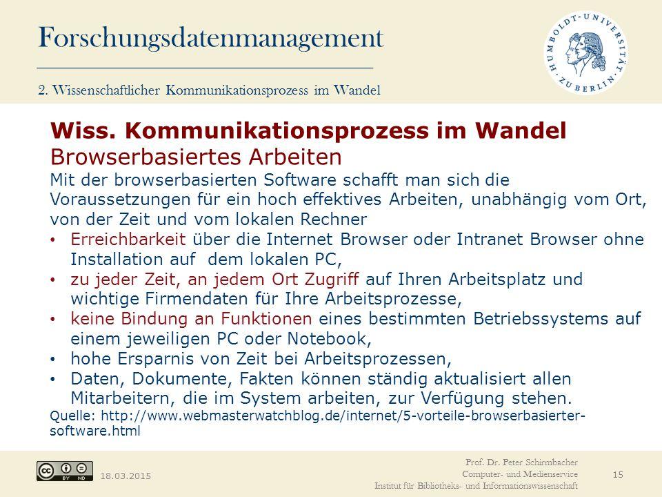 Forschungsdatenmanagement 18.03.2015 15 Wiss. Kommunikationsprozess im Wandel Browserbasiertes Arbeiten Mit der browserbasierten Software schafft man