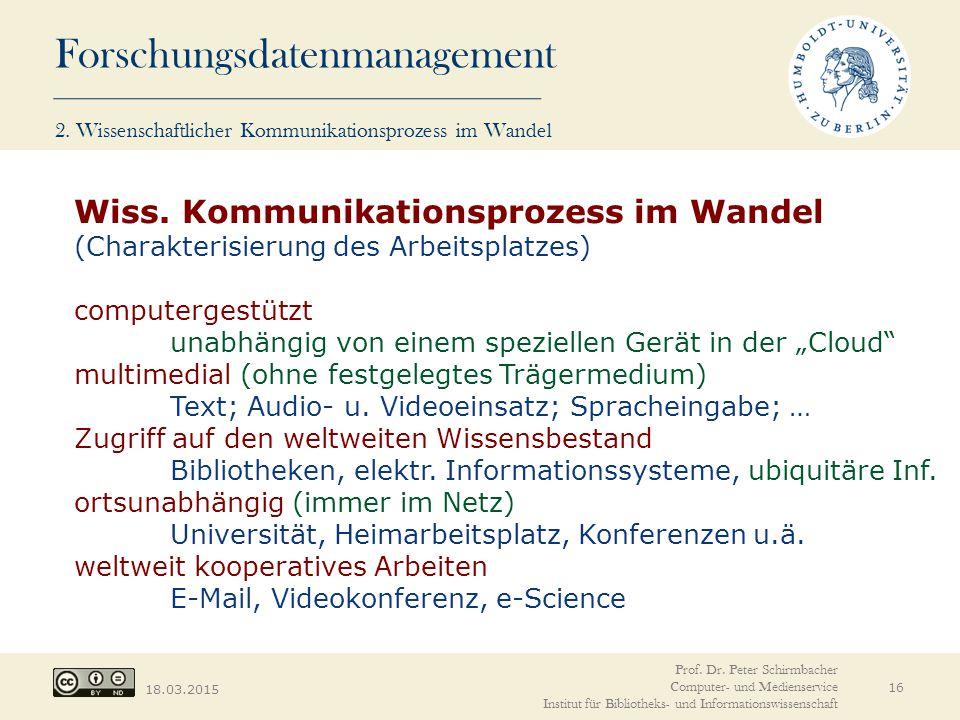Forschungsdatenmanagement 18.03.2015 16 Wiss. Kommunikationsprozess im Wandel (Charakterisierung des Arbeitsplatzes) computergestützt unabhängig von e