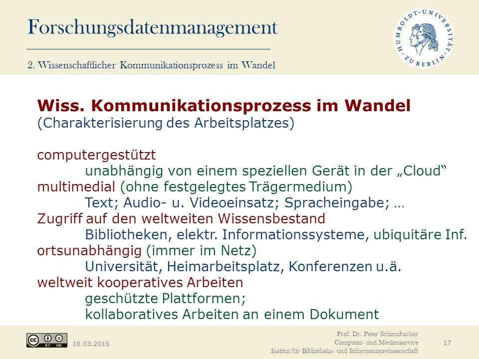 Forschungsdatenmanagement 18.03.2015 17 Wiss. Kommunikationsprozess im Wandel (Charakterisierung des Arbeitsplatzes) computergestützt unabhängig von e
