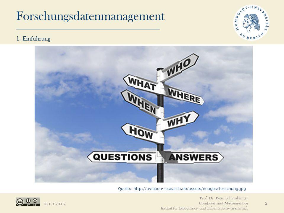 Forschungsdatenmanagement 18.03.2015 1. Einführung 2 Quelle: http://aviation-research.de/assets/images/forschung.jpg Prof. Dr. Peter Schirmbacher Comp