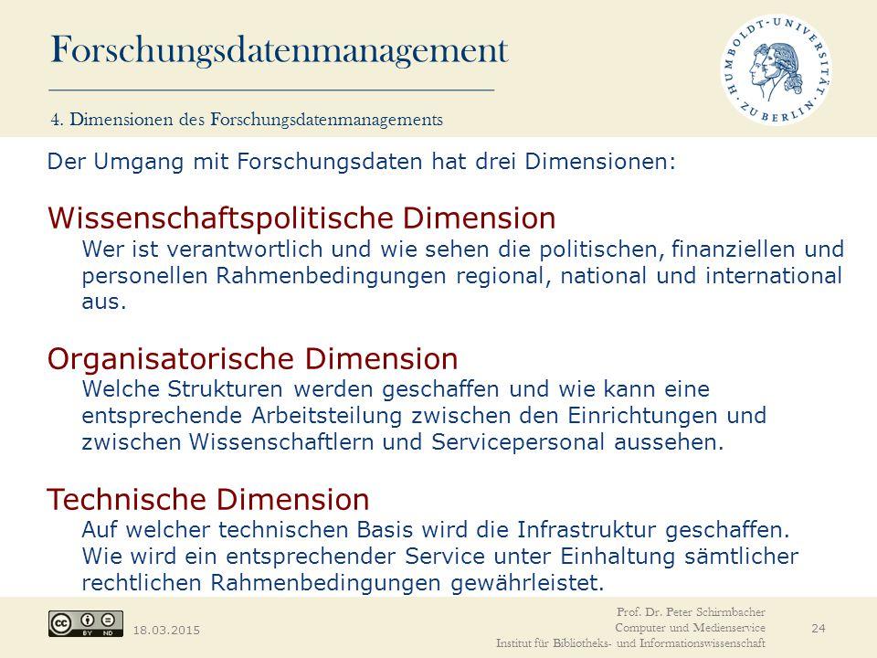 Forschungsdatenmanagement 18.03.2015 4. Dimensionen des Forschungsdatenmanagements 24 Der Umgang mit Forschungsdaten hat drei Dimensionen: Wissenschaf