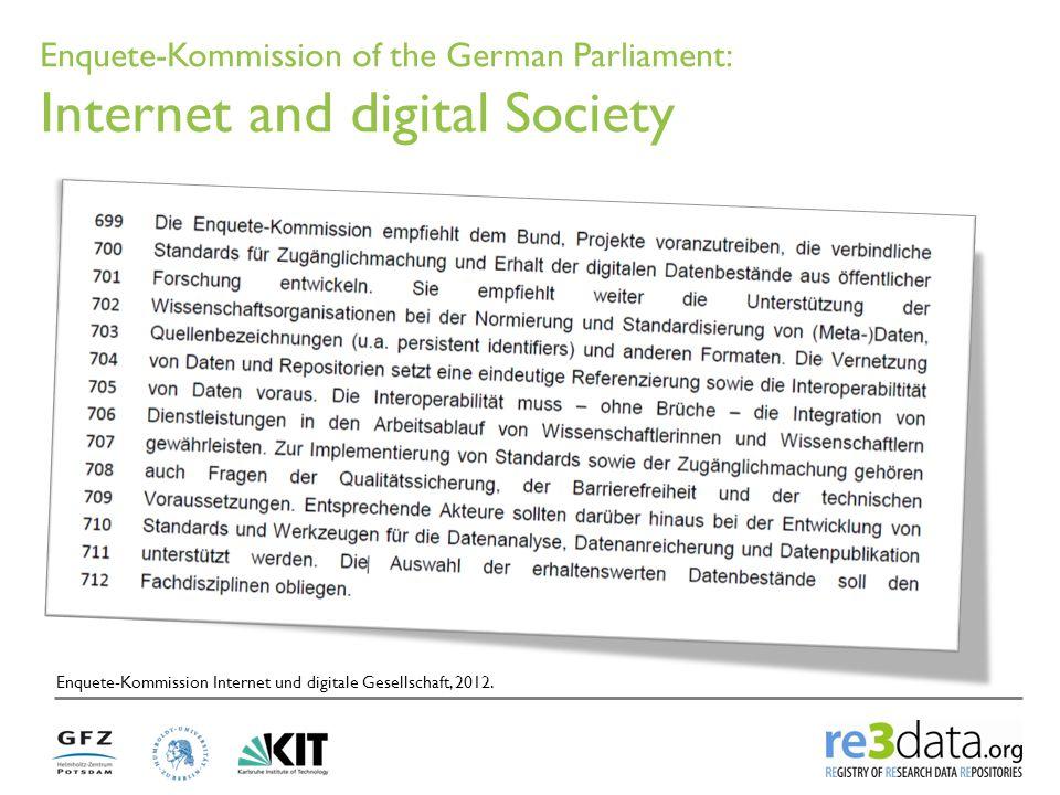 Enquete-Kommission of the German Parliament: Internet and digital Society Enquete-Kommission Internet und digitale Gesellschaft, 2012.