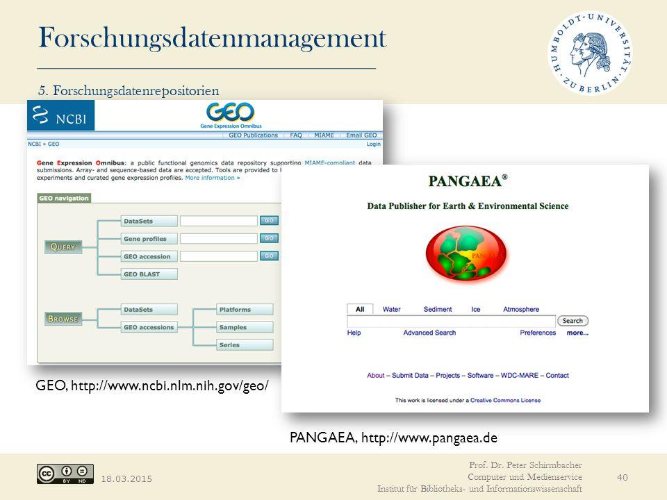 Forschungsdatenmanagement 18.03.2015 PANGAEA, http://www.pangaea.de GEO, http://www.ncbi.nlm.nih.gov/geo/ Prof. Dr. Peter Schirmbacher Computer und Me