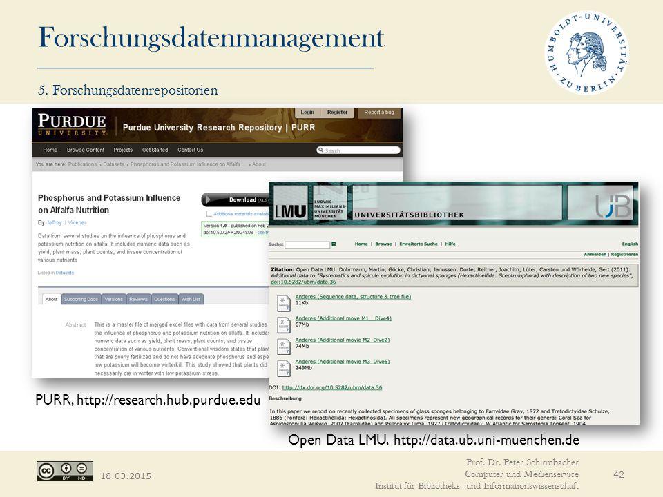 Forschungsdatenmanagement 18.03.2015 Open Data LMU, http://data.ub.uni-muenchen.de PURR, http://research.hub.purdue.edu Prof.