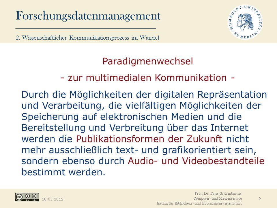 Forschungsdatenmanagement 18.03.2015 9 Paradigmenwechsel - zur multimedialen Kommunikation - Durch die Möglichkeiten der digitalen Repräsentation und