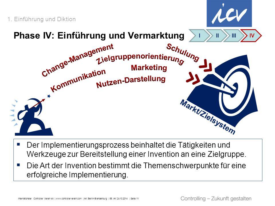 Internationaler Controller Verein eV   www.controllerverein.com   AK Berlin-Brandenburg   55. AK 24.10.2014   Seite 11 1. Einführung und Diktion Phase