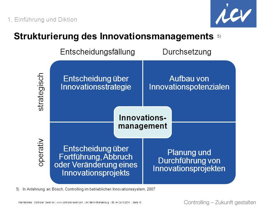 Internationaler Controller Verein eV   www.controllerverein.com   AK Berlin-Brandenburg   55. AK 24.10.2014   Seite 13 1. Einführung und Diktion Struk