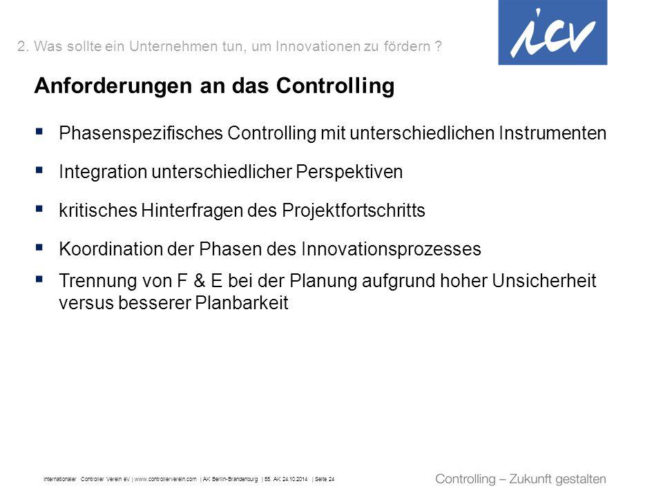 Internationaler Controller Verein eV   www.controllerverein.com   AK Berlin-Brandenburg   55. AK 24.10.2014   Seite 24 Anforderungen an das Controllin