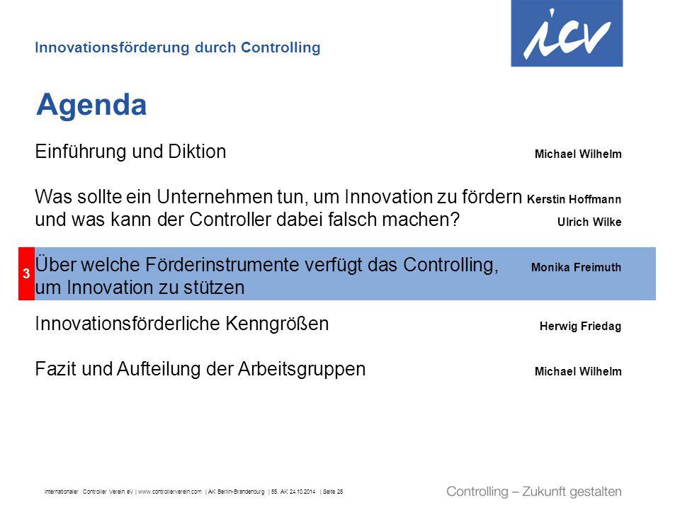 Internationaler Controller Verein eV   www.controllerverein.com   AK Berlin-Brandenburg   55. AK 24.10.2014   Seite 25 3 Agenda Innovationsförderung d