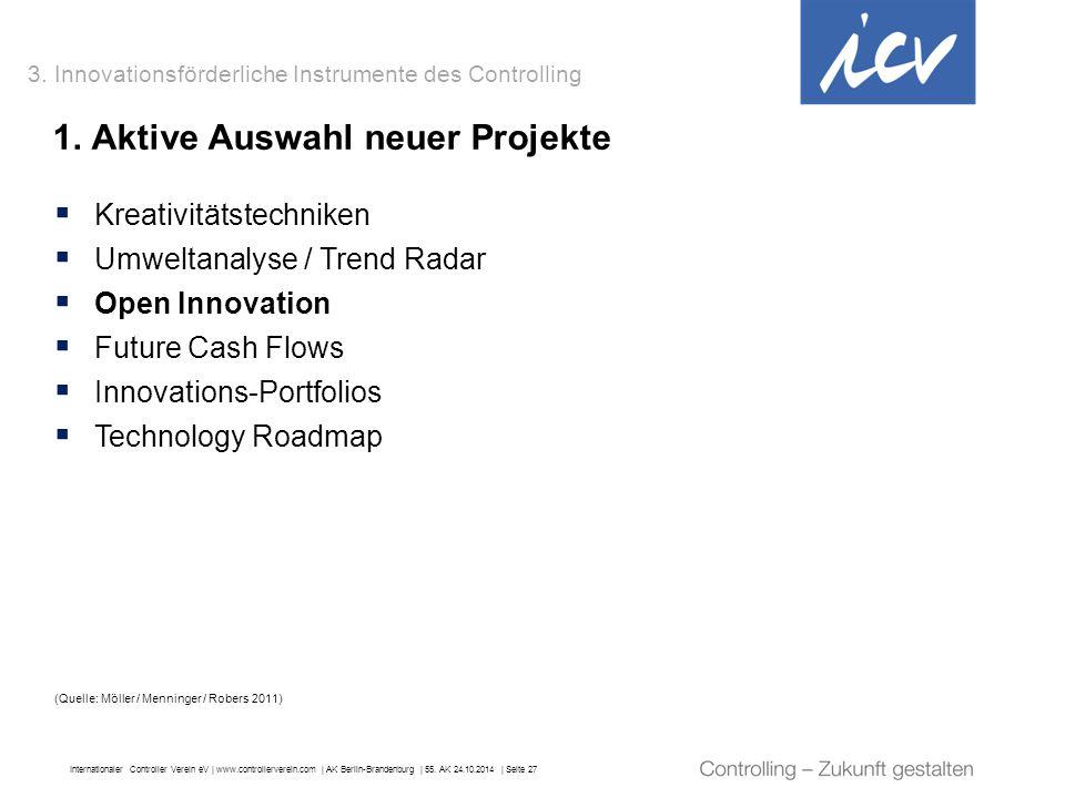 Internationaler Controller Verein eV   www.controllerverein.com   AK Berlin-Brandenburg   55. AK 24.10.2014   Seite 27 1. Aktive Auswahl neuer Projekt