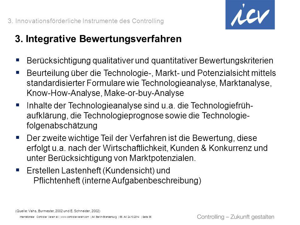 Internationaler Controller Verein eV   www.controllerverein.com   AK Berlin-Brandenburg   55. AK 24.10.2014   Seite 36 3. Integrative Bewertungsverfah