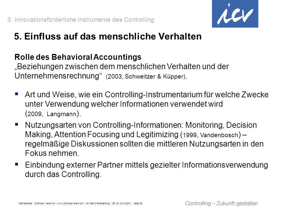Internationaler Controller Verein eV   www.controllerverein.com   AK Berlin-Brandenburg   55. AK 24.10.2014   Seite 38 Rolle des Behavioral Accounting