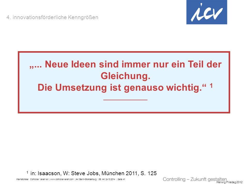 """Internationaler Controller Verein eV   www.controllerverein.com   AK Berlin-Brandenburg   55. AK 24.10.2014   Seite 41 Herwig Friedag 2012 """"... Neue I"""