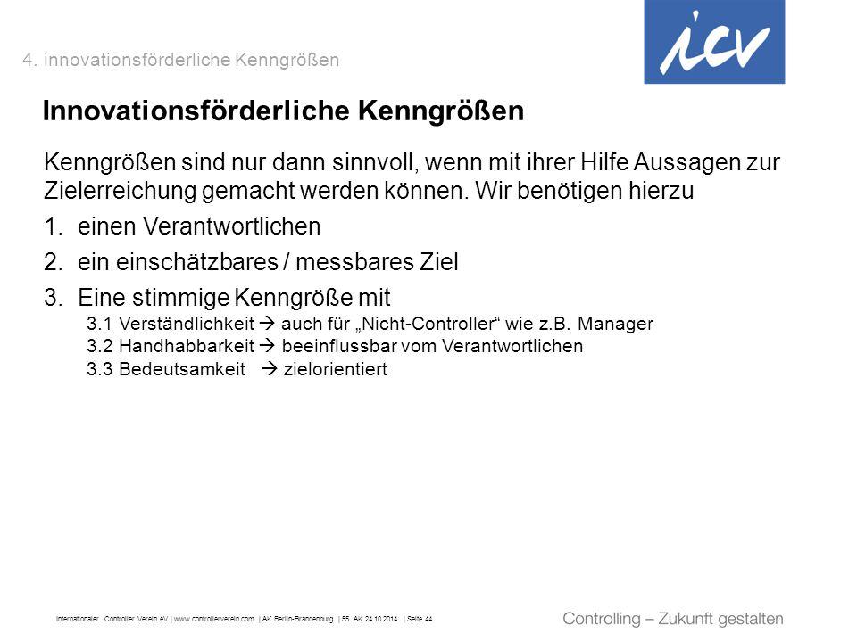 Internationaler Controller Verein eV   www.controllerverein.com   AK Berlin-Brandenburg   55. AK 24.10.2014   Seite 44 Kenngrößen sind nur dann sinnvo