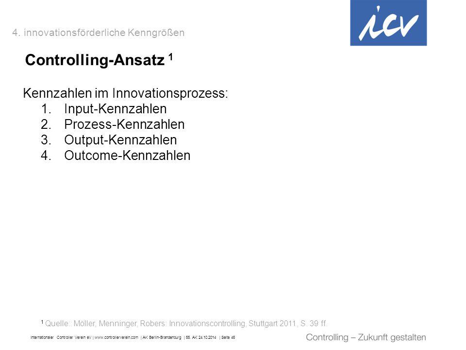 Internationaler Controller Verein eV   www.controllerverein.com   AK Berlin-Brandenburg   55. AK 24.10.2014   Seite 46 Controlling-Ansatz 1 Kennzahlen