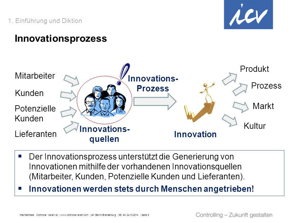 Internationaler Controller Verein eV   www.controllerverein.com   AK Berlin-Brandenburg   55. AK 24.10.2014   Seite 5 1. Einführung und Diktion Innova