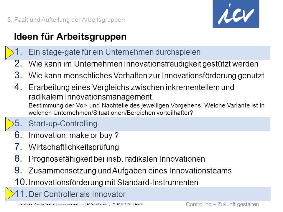 Internationaler Controller Verein eV   www.controllerverein.com   AK Berlin-Brandenburg   55. AK 24.10.2014   Seite 54 1. Ein stage-gate für ein Unter