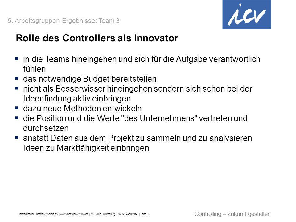 Internationaler Controller Verein eV   www.controllerverein.com   AK Berlin-Brandenburg   55. AK 24.10.2014   Seite 68 Rolle des Controllers als Innov