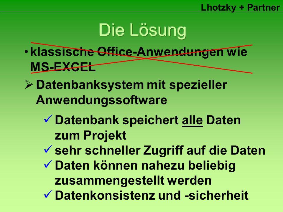 Lhotzky + Partner klassische Office-Anwendungen wie MS-EXCEL  Datenbanksystem mit spezieller Anwendungssoftware Datenbank speichert alle Daten zum Projekt sehr schneller Zugriff auf die Daten Daten können nahezu beliebig zusammengestellt werden Datenkonsistenz und -sicherheit