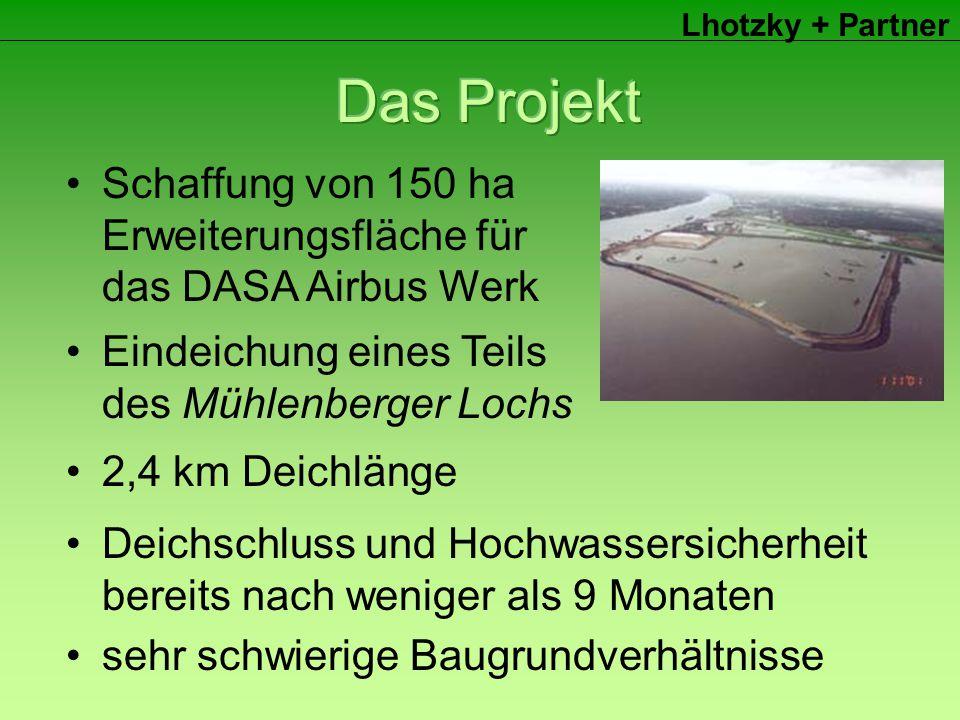 Lhotzky + Partner Eindeichung eines Teils des Mühlenberger Lochs Schaffung von 150 ha Erweiterungsfläche für das DASA Airbus Werk 2,4 km Deichlänge Deichschluss und Hochwassersicherheit bereits nach weniger als 9 Monaten sehr schwierige Baugrundverhältnisse