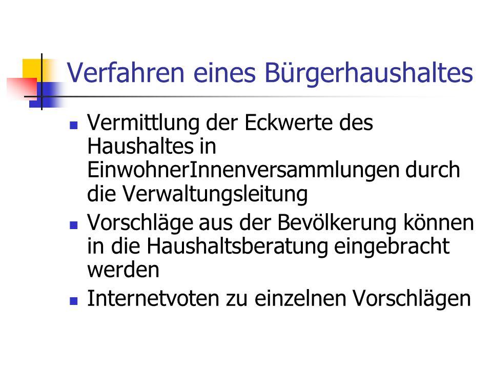 Verfahren eines Bürgerhaushaltes Vermittlung der Eckwerte des Haushaltes in EinwohnerInnenversammlungen durch die Verwaltungsleitung Vorschläge aus de