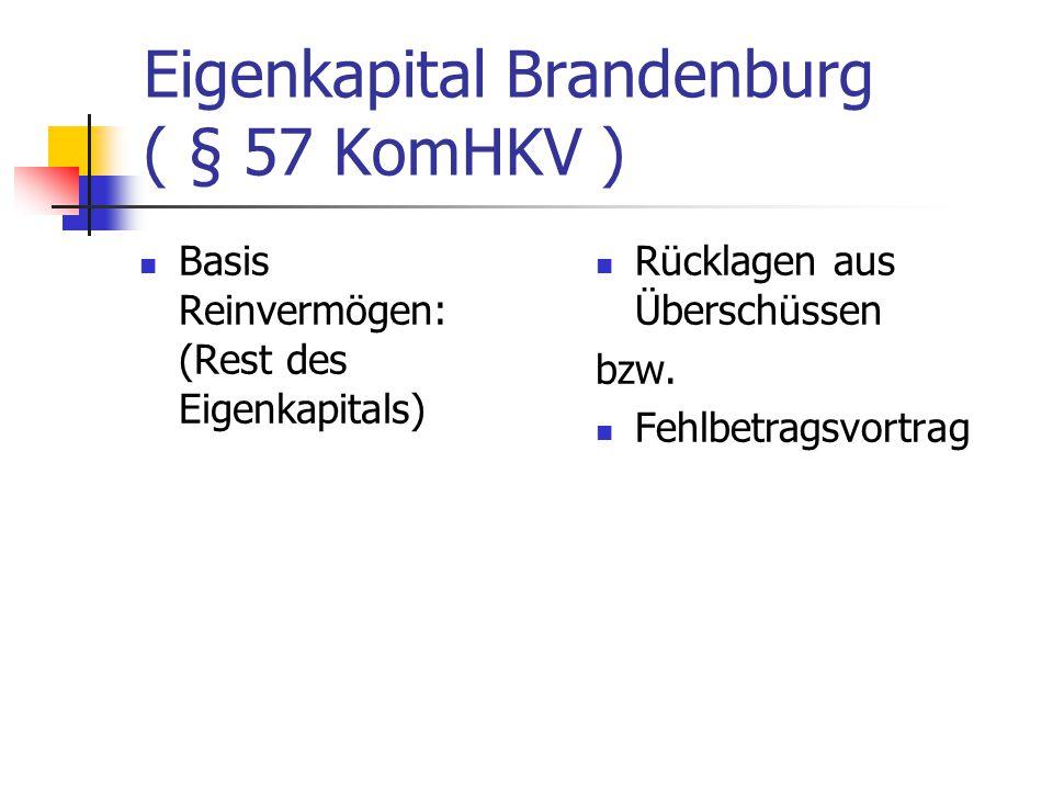 Eigenkapital Brandenburg ( § 57 KomHKV ) Rücklagen aus Überschüssen bzw. Fehlbetragsvortrag Basis Reinvermögen: (Rest des Eigenkapitals)
