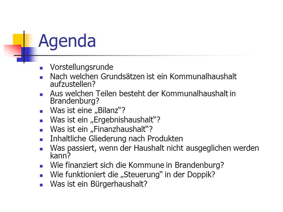 Agenda Vorstellungsrunde Nach welchen Grundsätzen ist ein Kommunalhaushalt aufzustellen? Aus welchen Teilen besteht der Kommunalhaushalt in Brandenbur