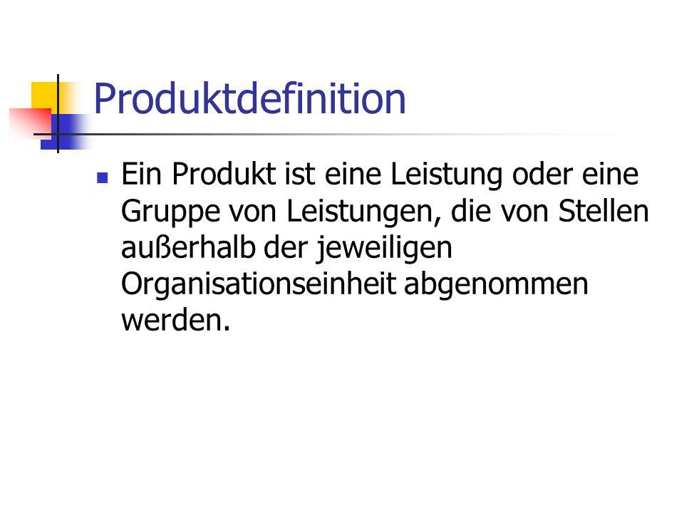 Produktdefinition Ein Produkt ist eine Leistung oder eine Gruppe von Leistungen, die von Stellen außerhalb der jeweiligen Organisationseinheit abgenom