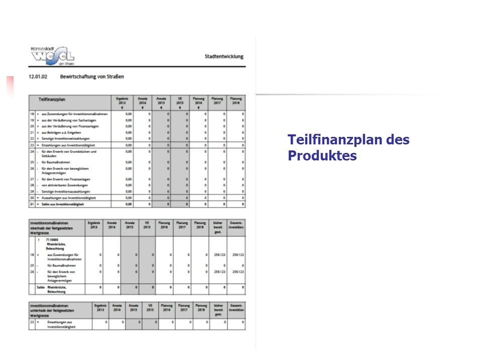 Teilfinanzplan des Produktes
