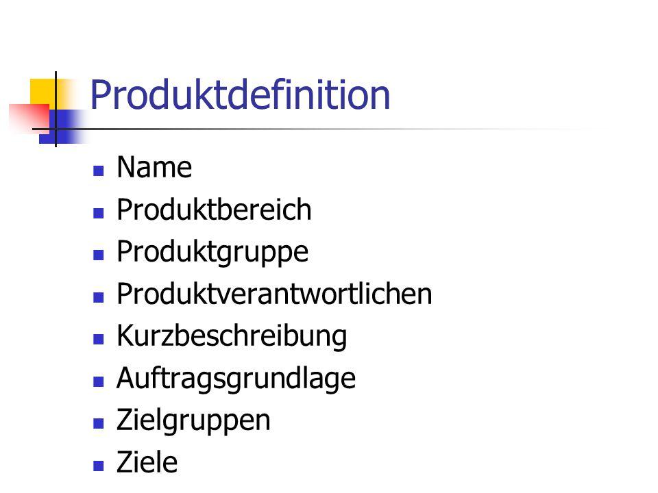 Produktdefinition Name Produktbereich Produktgruppe Produktverantwortlichen Kurzbeschreibung Auftragsgrundlage Zielgruppen Ziele