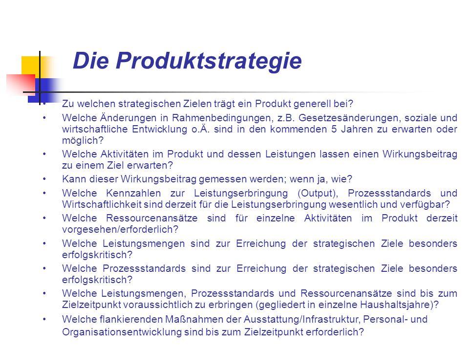 Die Produktstrategie Zu welchen strategischen Zielen trägt ein Produkt generell bei? Welche Änderungen in Rahmenbedingungen, z.B. Gesetzesänderungen,