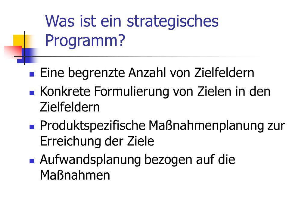 Was ist ein strategisches Programm? Eine begrenzte Anzahl von Zielfeldern Konkrete Formulierung von Zielen in den Zielfeldern Produktspezifische Maßna