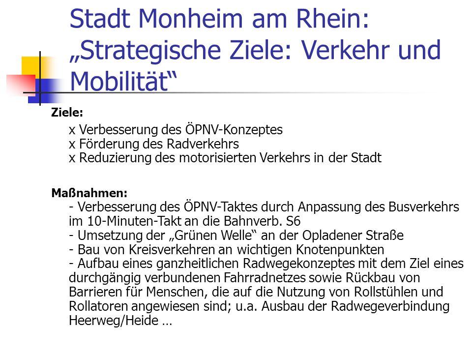 """Stadt Monheim am Rhein: """"Strategische Ziele: Verkehr und Mobilität"""" Ziele: x Verbesserung des ÖPNV-Konzeptes x Förderung des Radverkehrs x Reduzierung"""