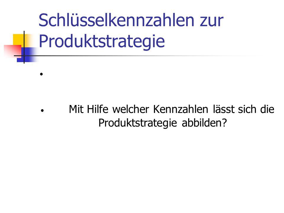 Schlüsselkennzahlen zur Produktstrategie Mit Hilfe welcher Kennzahlen lässt sich die Produktstrategie abbilden?
